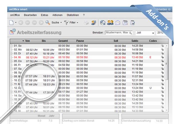 onOffice smart Arbeitszeiterfassung